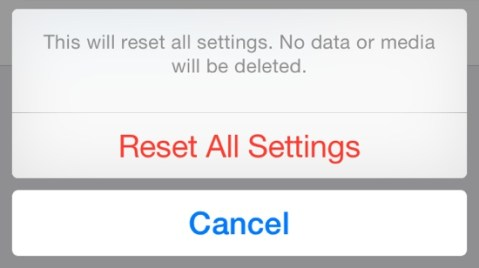ios 8 problem Reset All Settings