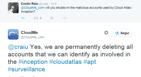 CloudAtlas campaign Twitter