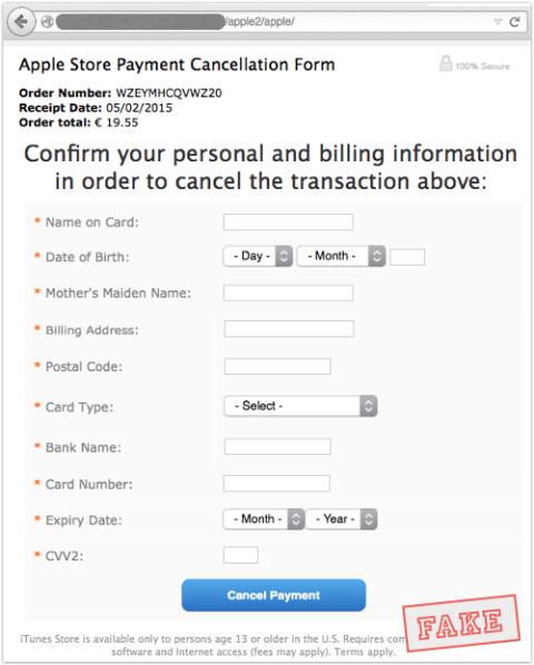 icloud phishing cancellation form