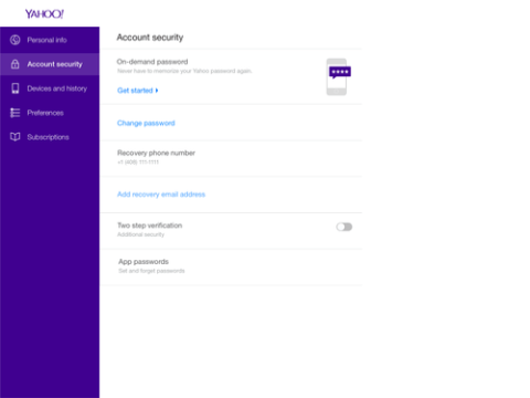 Yahoo on-demand password login authentication