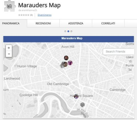 Marauders Map Facebook Chrome extension 2