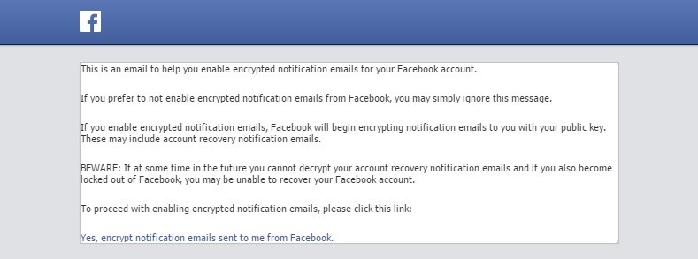 Facebook uses PGP for sending encrypted notification emails