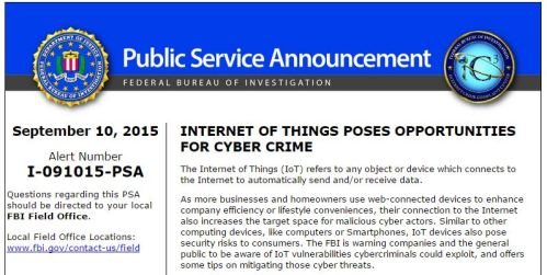 FBI Internet of Things announcement
