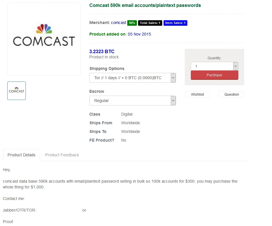 comcast darkweb