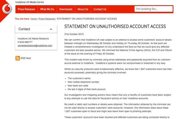 vodafone notice accout data leaked