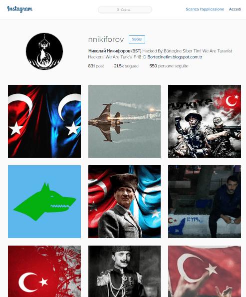 Turkish hackers instagram Russian account hacked