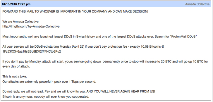 armada collective ddoS extortion