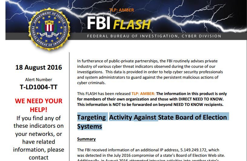 FBI alert state election systems