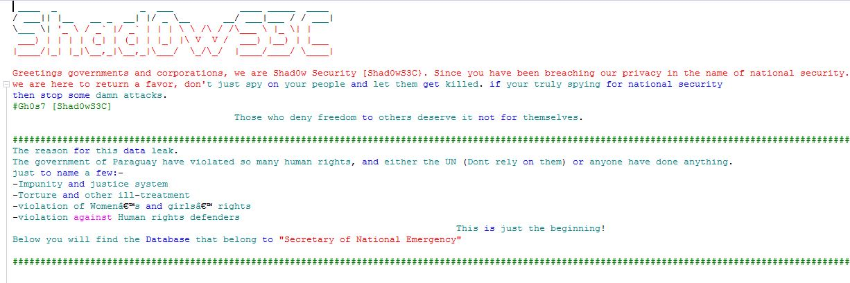 Shad0wS3C group hacked the Paraguay Secretary of National