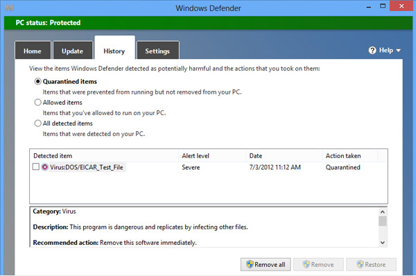 Windows Defender is the first antivirus solution that can