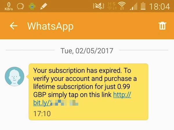 WhatsApp scam subscription-expired