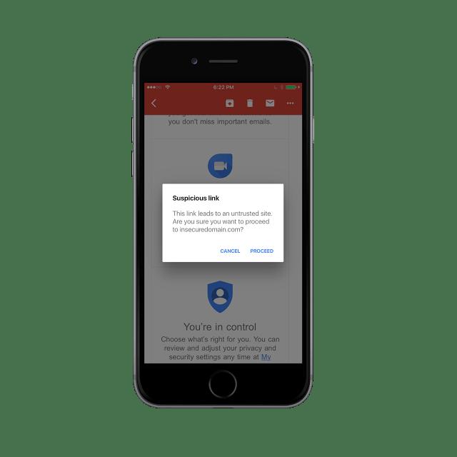 Gmail app for iOS anti phishing