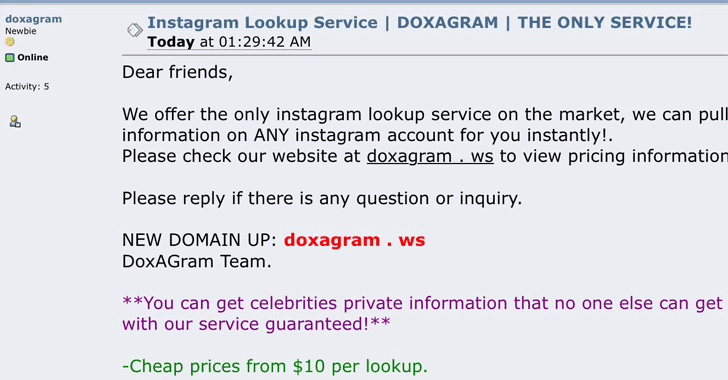 doxagram website Instagram hack