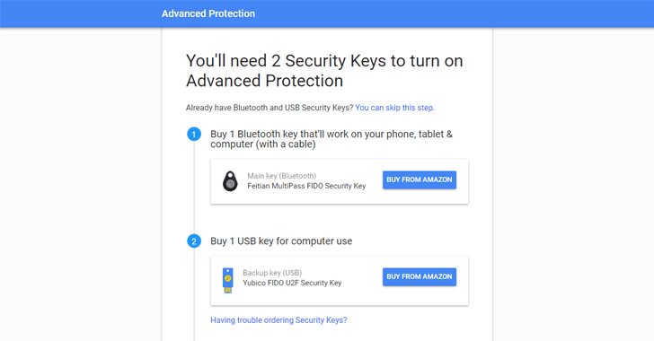 google advanced protection security key