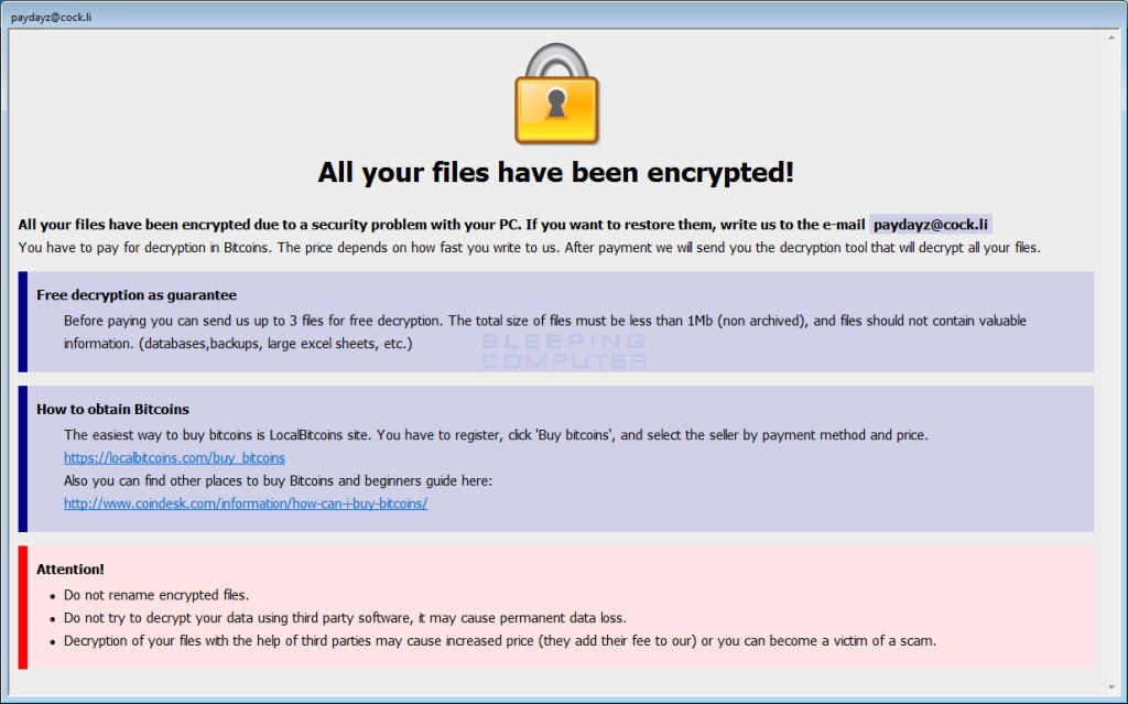 Shadow BTCware Ransomware Ransom Note