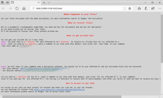 CDOT SamSam ransomware note
