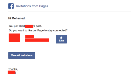 Facebook administrator page -Like-