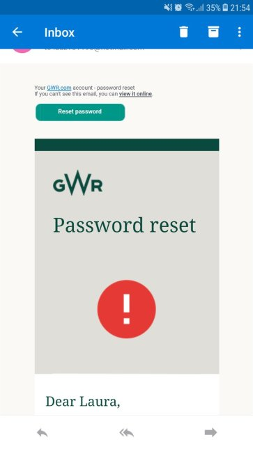 GWR notification  - GWR breach notification - Great Western Railway asks users to reset passwords due to a security breachSecurity Affairs