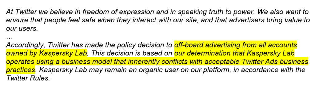 Twitter bans Kaspersky
