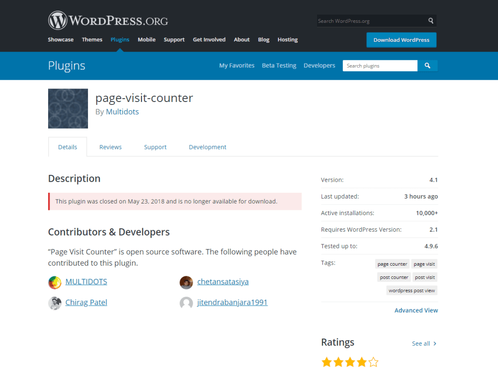 closed wordpress plugins multidots