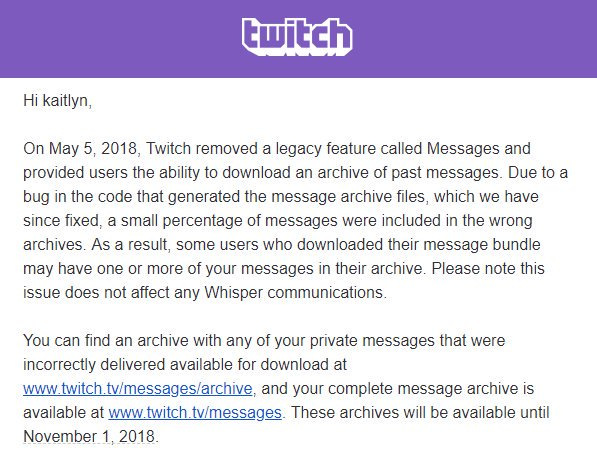 Twitch email