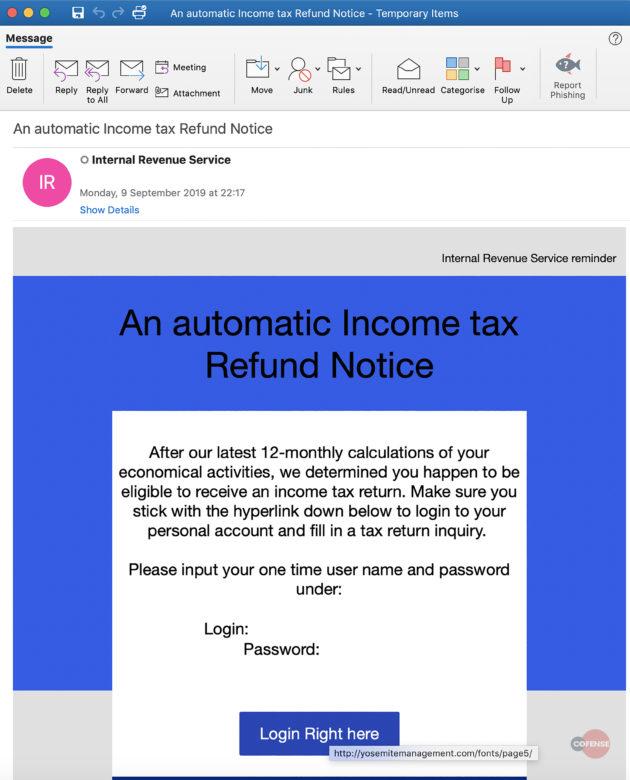Amadey IRS phishing