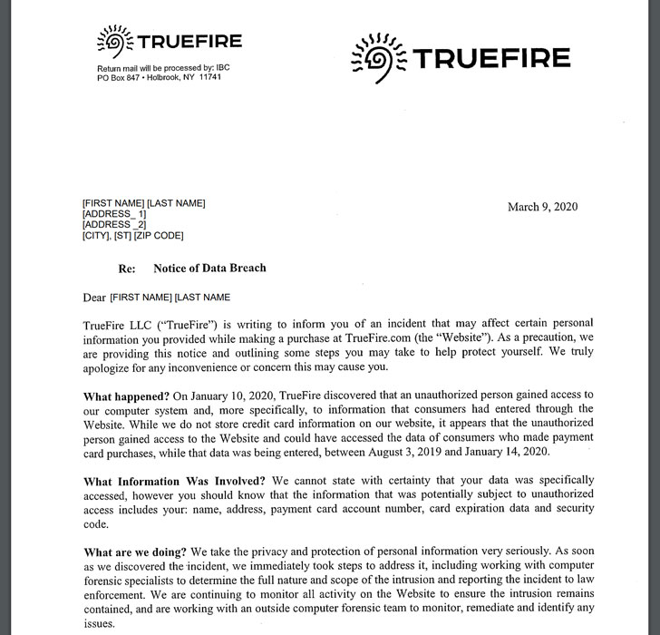 TrueFire data-breach
