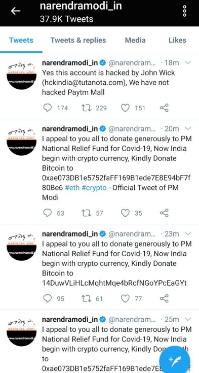 Modi Twitter account hacked