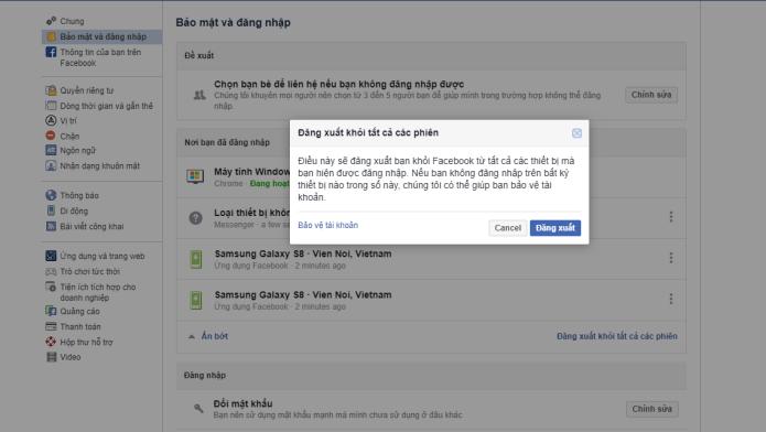 Hướng dẫn đăng xuất tài khoản Facebook từ tất cả các thiết bị - Bước 4