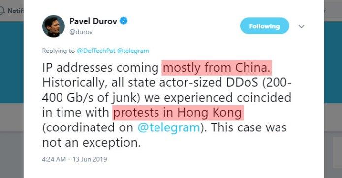 Trung Quốc tấn công Telegram nhằm ngăn chặn biểu tình ở Hồng Kông