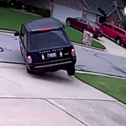 Range Rover wrecks during high speed J-turn into his own Driveway