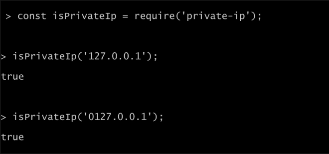 Sample output from the netmask NPM module showing incorrect parsing of the IPv4 address. The flaw could enable a range of attacks on applications using the popular open source module.