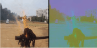 Fig. 8 Original RGB image on the left and RGB to YCbCr