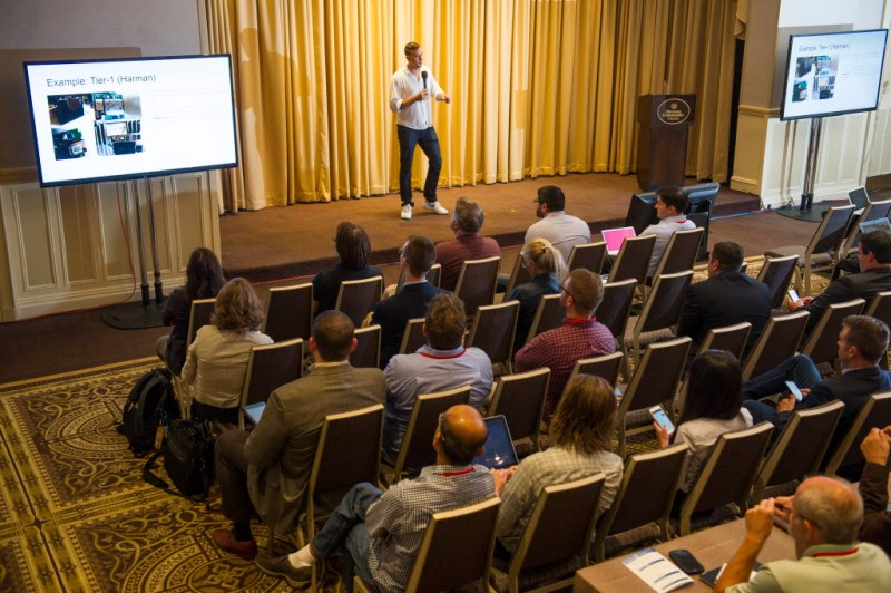 CAMBRIDGE, MA - September 10: Chris Valasek, researcher in Uber's Center for Advanced Technologies, speaks at the second annual Security of Things Forum at the Sheraton Commander on September 10, 2015, in Cambridge, Massachusetts. Co-hosted by The Security Ledger and The Christian Science Monitor Passcode, the Security of Things Forum gathers top security researchers, executives, practitioners, investors and academics for a day of discussion and hands-on learning. Photo by Ann Hermes/The Christian Science Monitor