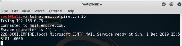 telneting to exchange server port 25