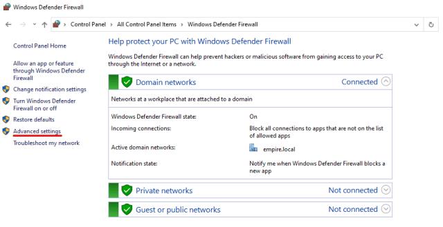 Windows Firewall Advanced Settings