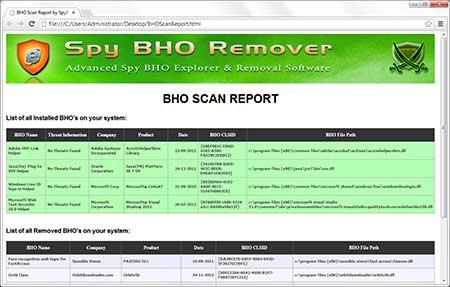 SpyBHORemover export scan results
