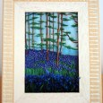 "Embroidery on Painted Silk, more than 100 individual 3D ""bluebells"" in the foreground. Price includes frame"