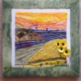 painted silk forming sky and mountains.  Fabric and lace for lavender and sunflower fields. Olive trees and bees. Framed with a painted lutrador border and mounted on canvas. Buy this […]