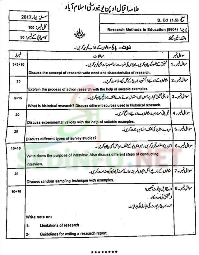 aiou bed code 8604 past papers