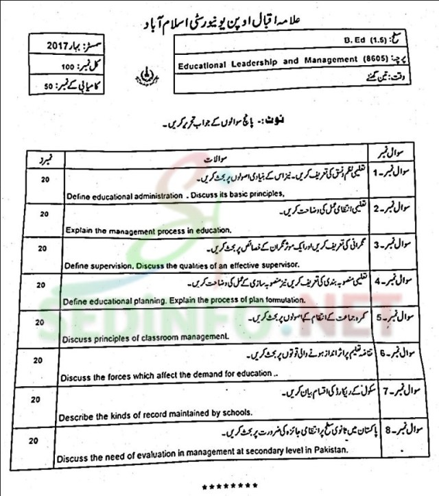 aiou code 8605 past papers