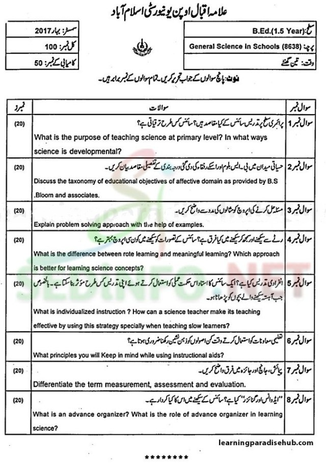 aiou bed code 8638 past papers
