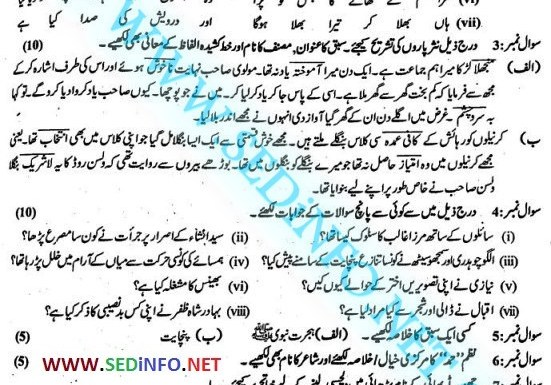 9th Class Urdu Past Papers BISE Sargodha 2017