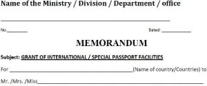 NOC MEMORANDUM for Passport