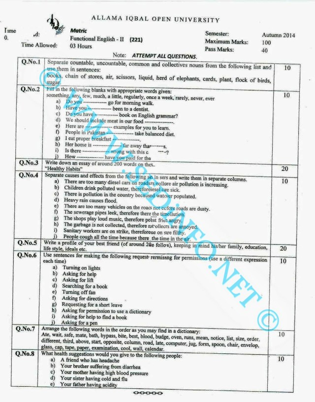 Matric-Code-221-AIOU-Past-Papers-Autumn-2014