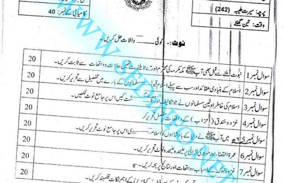 Code 242 Matric AIOU Past Papers S2016