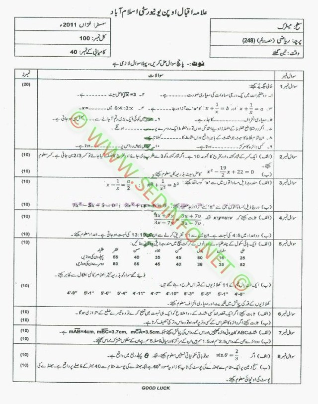 Matric-Code-248-AIOU-Past-Papers-Autumn-2011