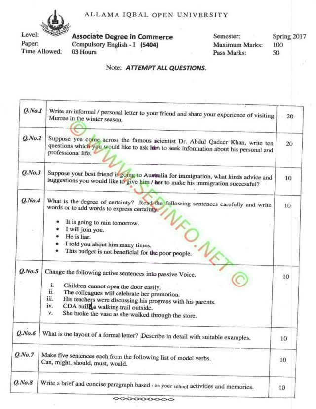 AIOU-BEd-Code-5404-Past-Papers-Spring-2017