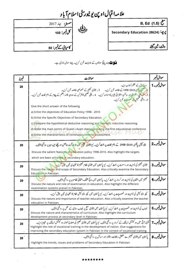 AIOU-Past-Papers-BEd-Code-8624-Spring-2017